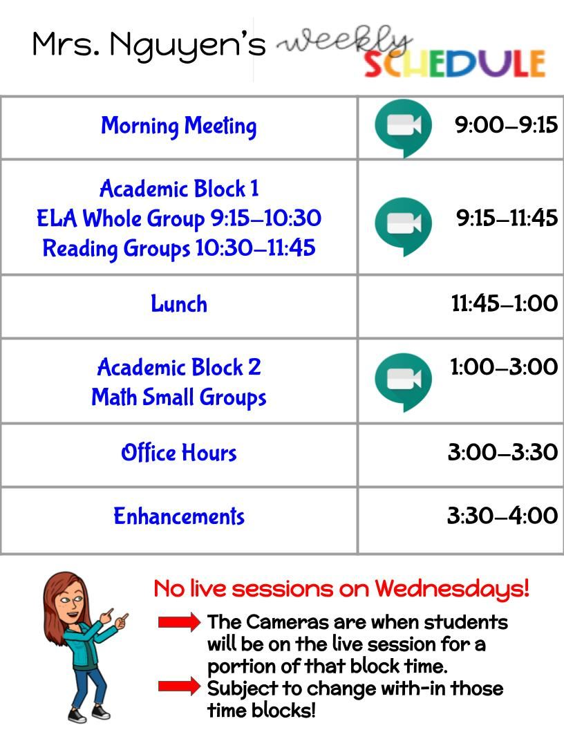 Mrs. Nguyen's Daily Schedule Schedule