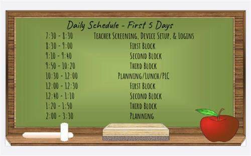 First 5 Day Schedule