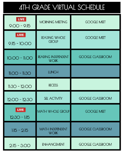 4th grade virtual schedule
