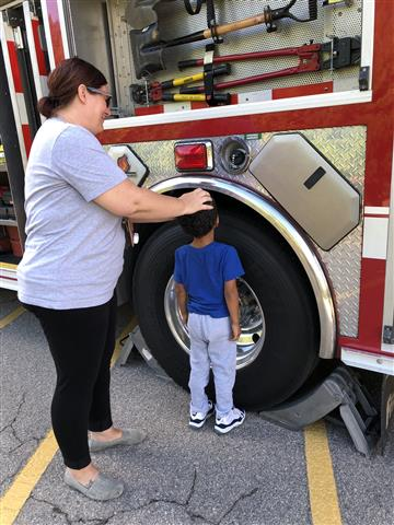 First grade explores a fire truck today