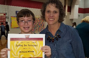 Photo of Jackson Norris and Kathy Parrish, Principal
