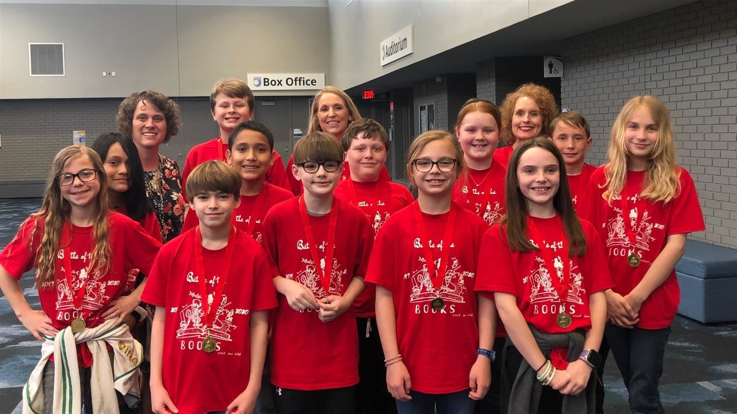 Image of the Battle of the books team, Principal and coaches