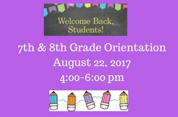 picture of 7th and 8th grade orientation details