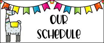 daily schedule banner with llama