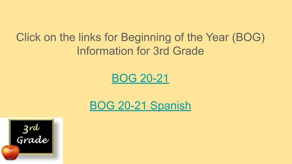 3rd Grade Parent Information