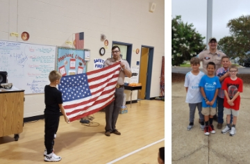 Students learn about flag etiquette.