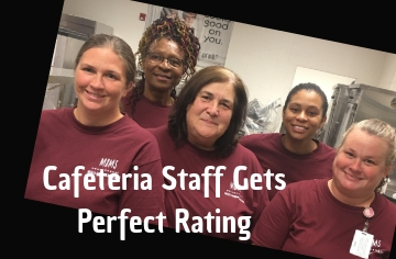 Cafeteria gets a 100% Grade A from state inspector.