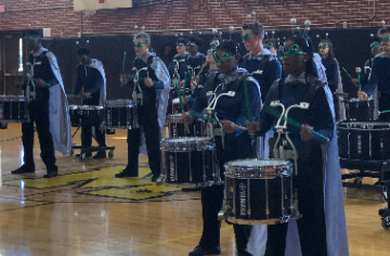 The Smithfield Selma High School drumline, Spartan Thunder, brought down the house at our assembly.