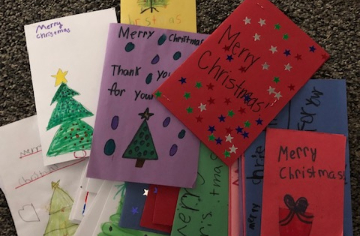 Our students made Holiday cards. The cards will be sent to service members not able to go home for
