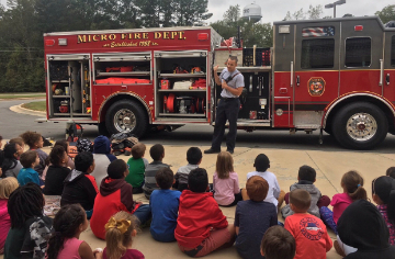 Micro Fire Department teaches students about fire safety.