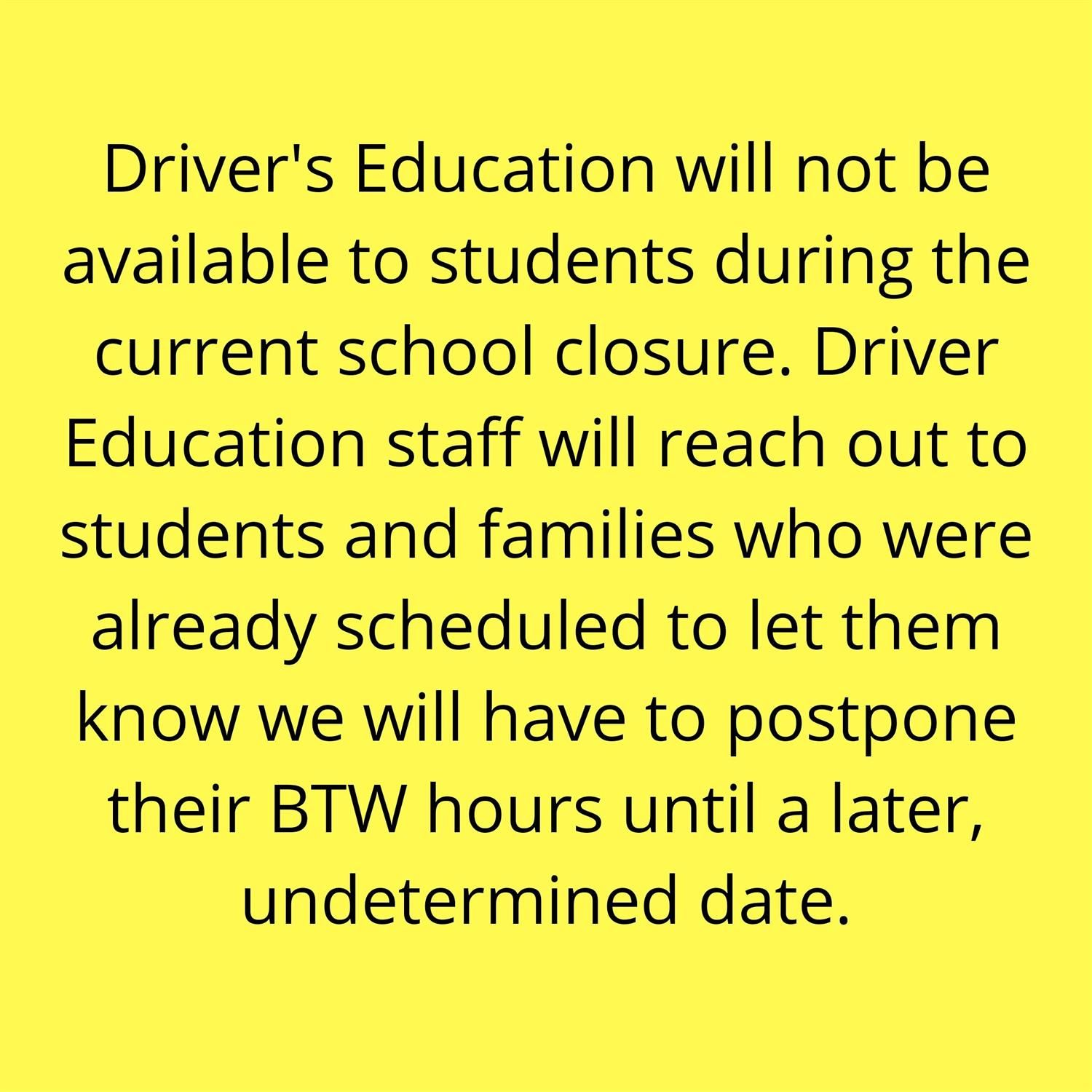 Drivers Ed Announcement
