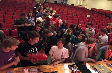 First Priority Students Pack Operation Christmas Child Boxes