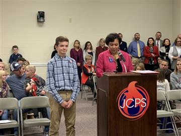 RMS student is recognized at the JCPS Board meeting for demonstrating outstanding character!