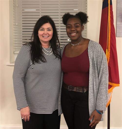 West Johnston High student Alex Johnson (right) was the Original Poetry competition winner. Standing with Johnson is West Joh