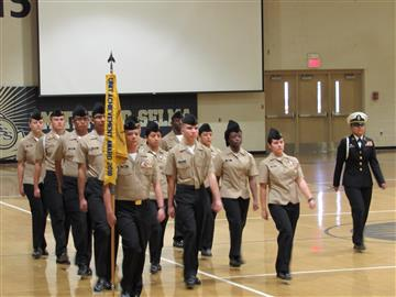 SSS ROTC students marching in formation