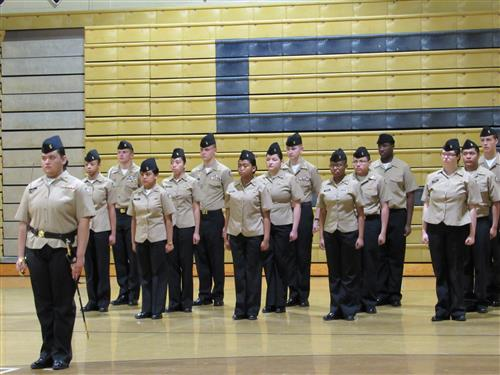 SSS ROTC students standing at attention