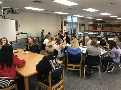 Danish and SSS Students Enjoying a Welcome Breakfast in the SSS Media Center