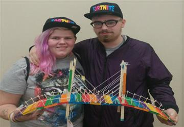 SSS Students Aimee Perryman (left) and Peter Duca (right) showcase their bridge model