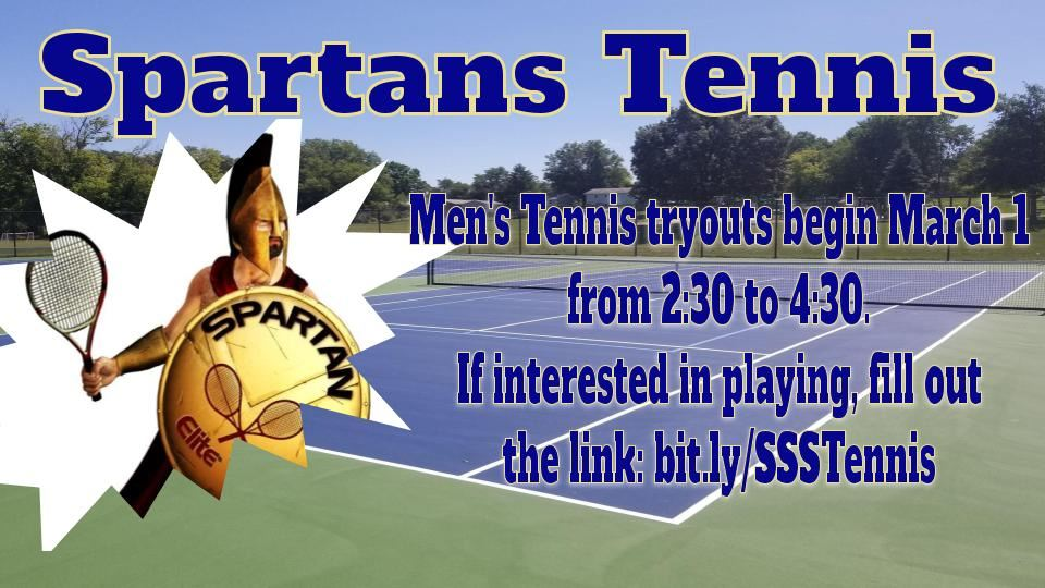 Image of a Spartan cartoon holding a tennis racket.