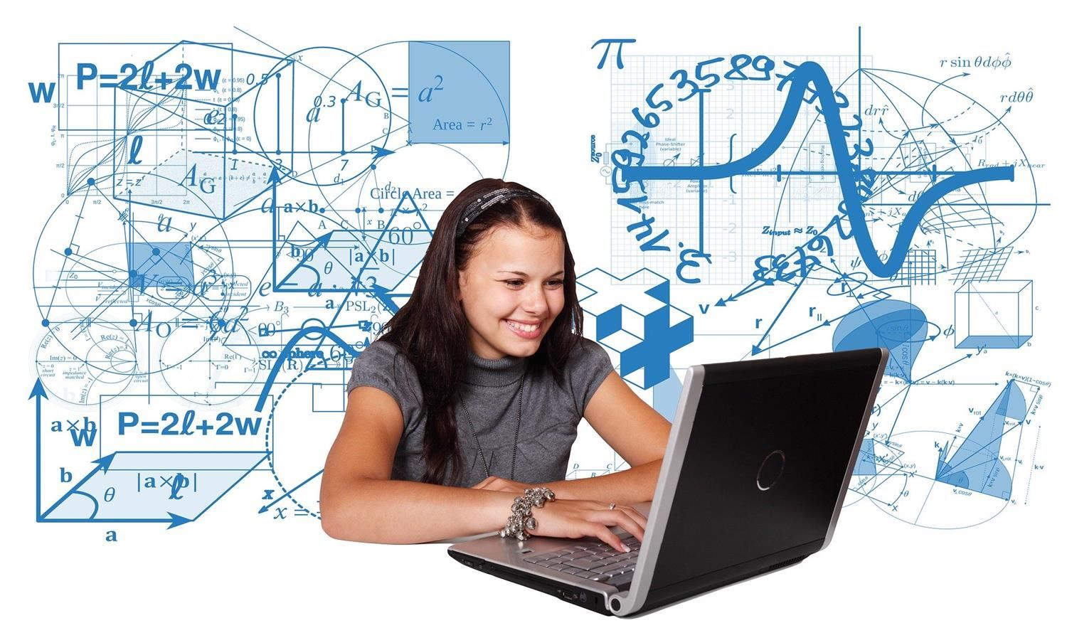 Image of a female student working on a computer with a background of mathematical equations