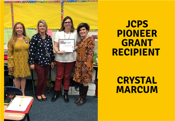 Crystal Marcum receives the JCPS Pioneer Grant