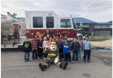 Sparky Visits Princeton Elementary Along with the Local Fire Departments