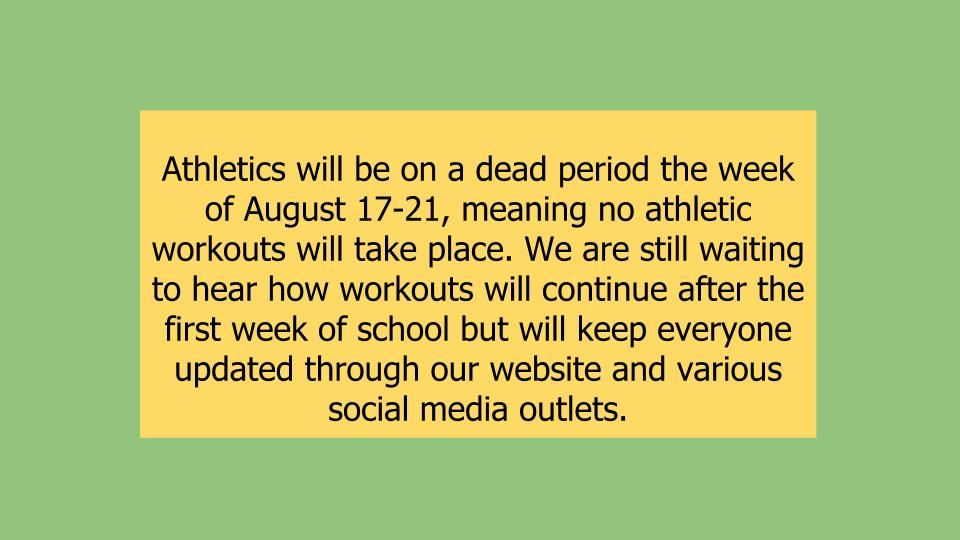 Athletics 8/17-8/21/2020