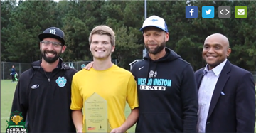 Ethan Brinkley is honored as Coastal Credit Union Scholar-Athlete of the Month