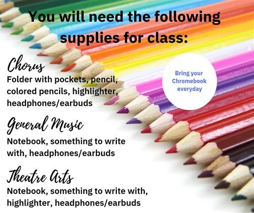 Supplies needed for class
