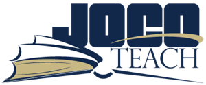 "Image of the JoCo Teach logo consisting of the text ""JoCo Teach"" positioned over an open book"